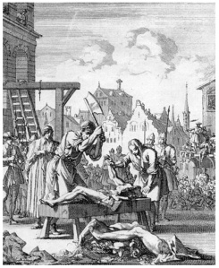 """Hung, drawn, and quartered.  """"Execution of thomas armstrong 1683"""" by unknown artist."""